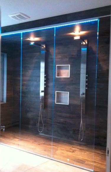 douche de verre lumière LED